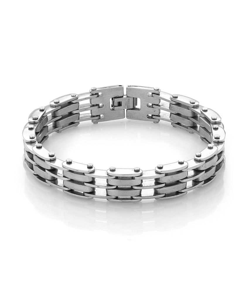 Voylla Luscious Mens Bracelet With Silver Interlinks
