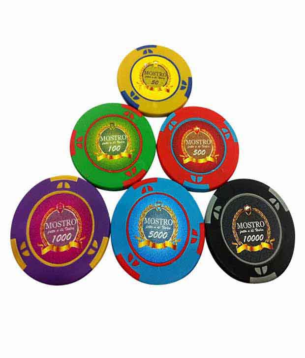 1 Bluffando Mostro Poker Chips Set 500 Card Shuffler & Freebie: 2 Decks of Fournier Playing Cards