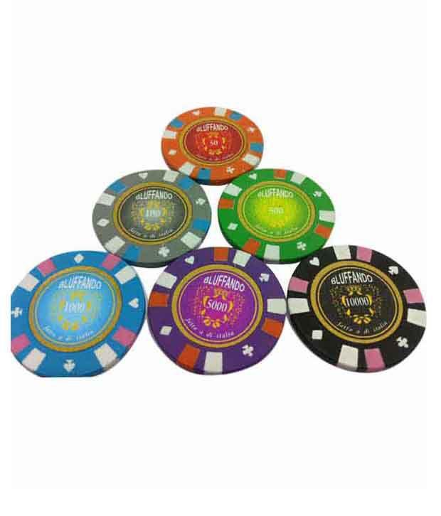 1 Bluffando Solid Poker Chips Set 300 Card Shuffler & Freebie: 2 Decks of Fournier Playing Cards