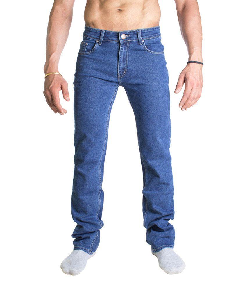 John Pride Blue Regular Fit Cotton Jeans For Men