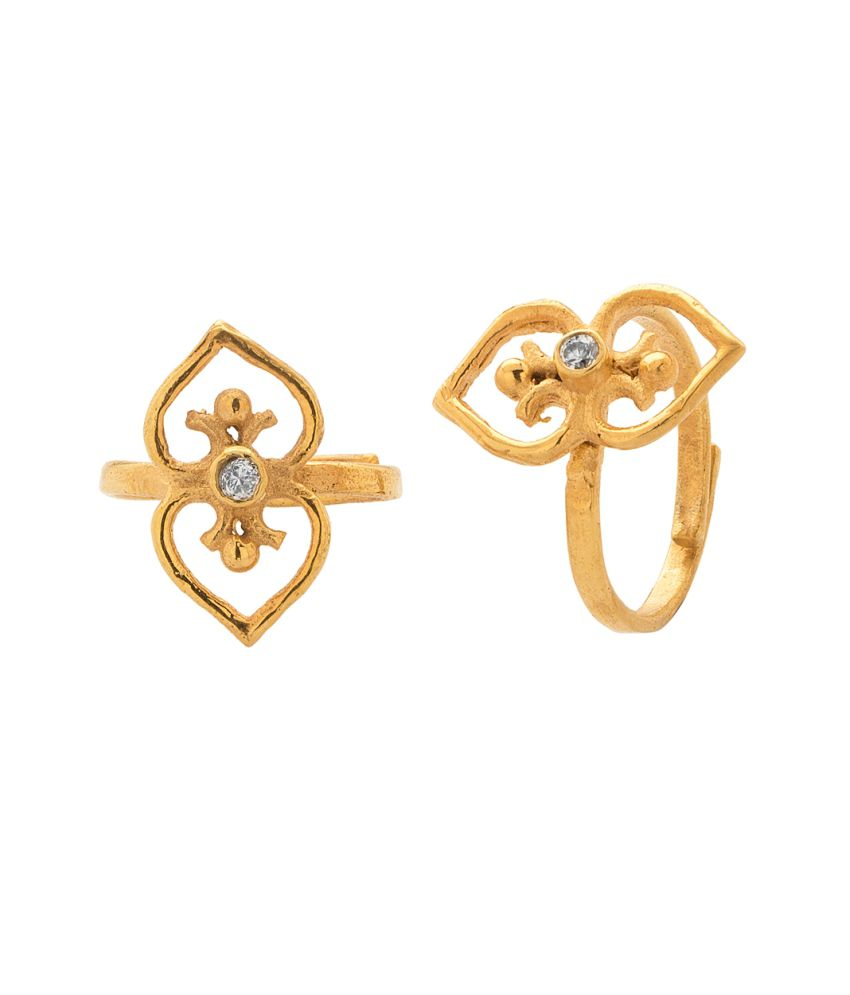 Voylla Exotic Pair Of Toe Rings On Yellow Gold Plating With CZ Stone