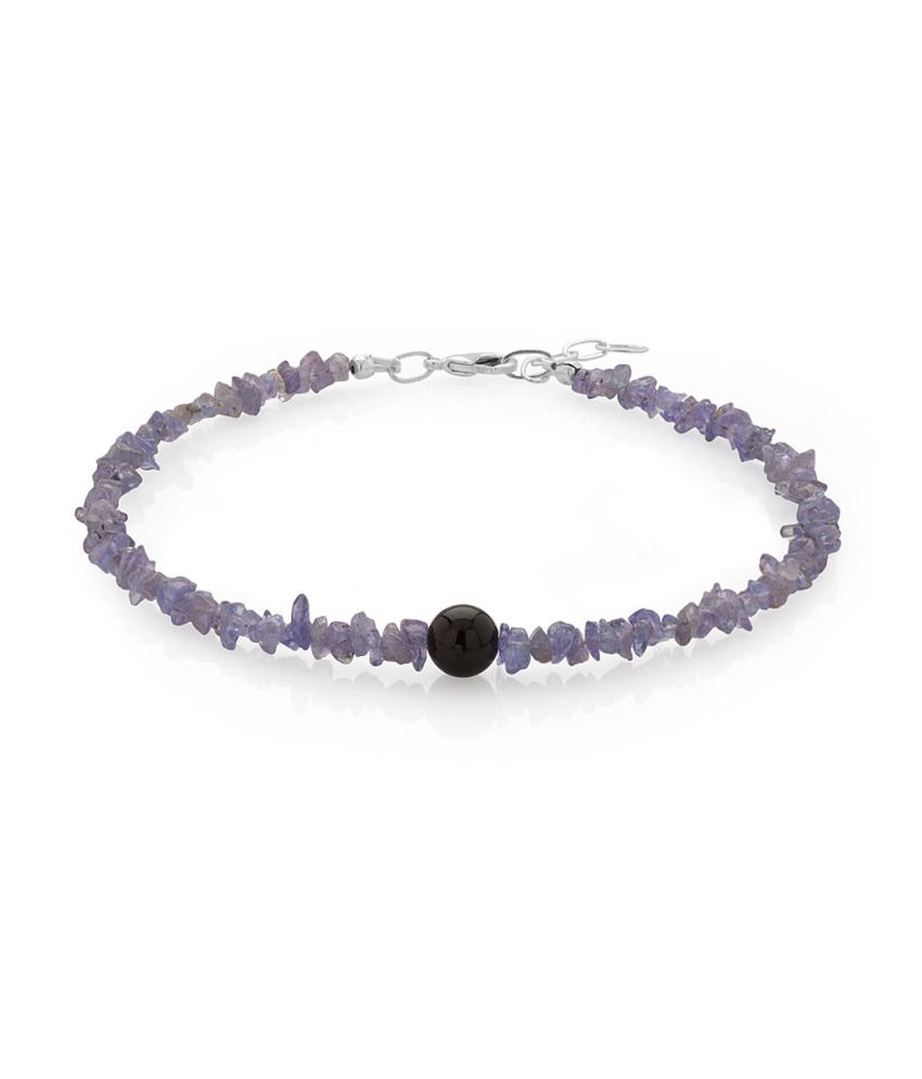 Voylla Single Anklet With Black Onyx And Tanzanite Beads