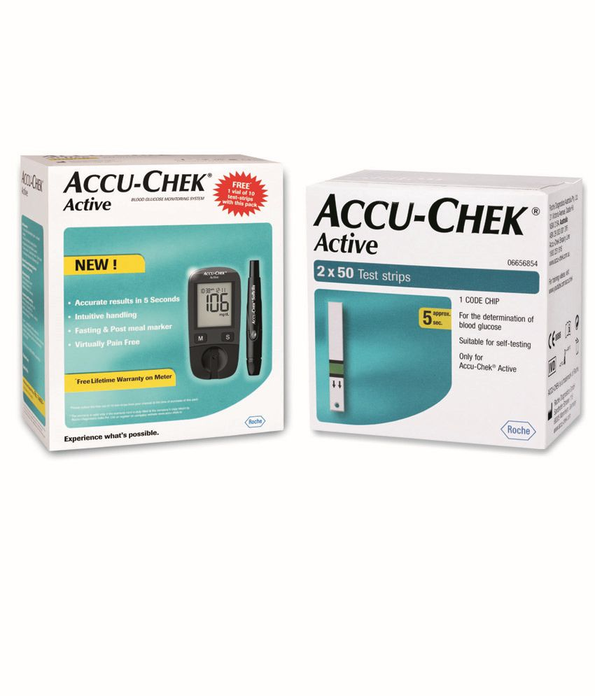 Accu-Chek Active Blood Glucose Monitor with 100 Test Strips Combo