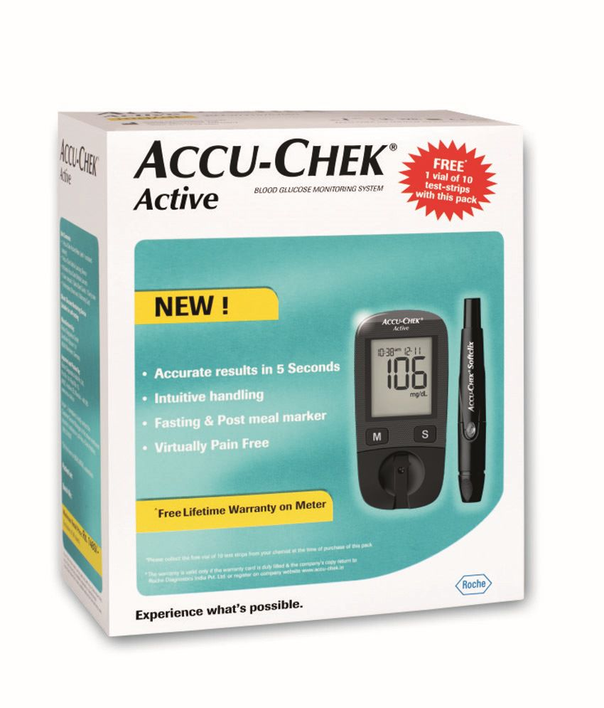 Accu Chek Active Blood Glucose Monitor With 100 Test Strips Combo  -> Aki Carpetes