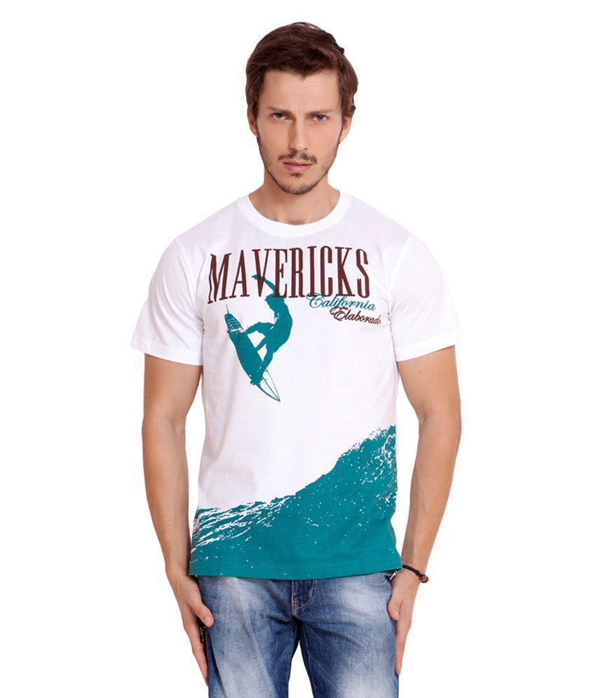 Elaborado White Half Sleeves Cotton Round Neck T-shirt