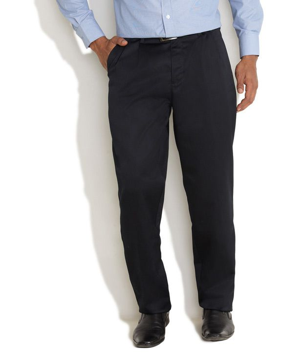 Indigo Nation Black Cotton Blend Formal Trousers