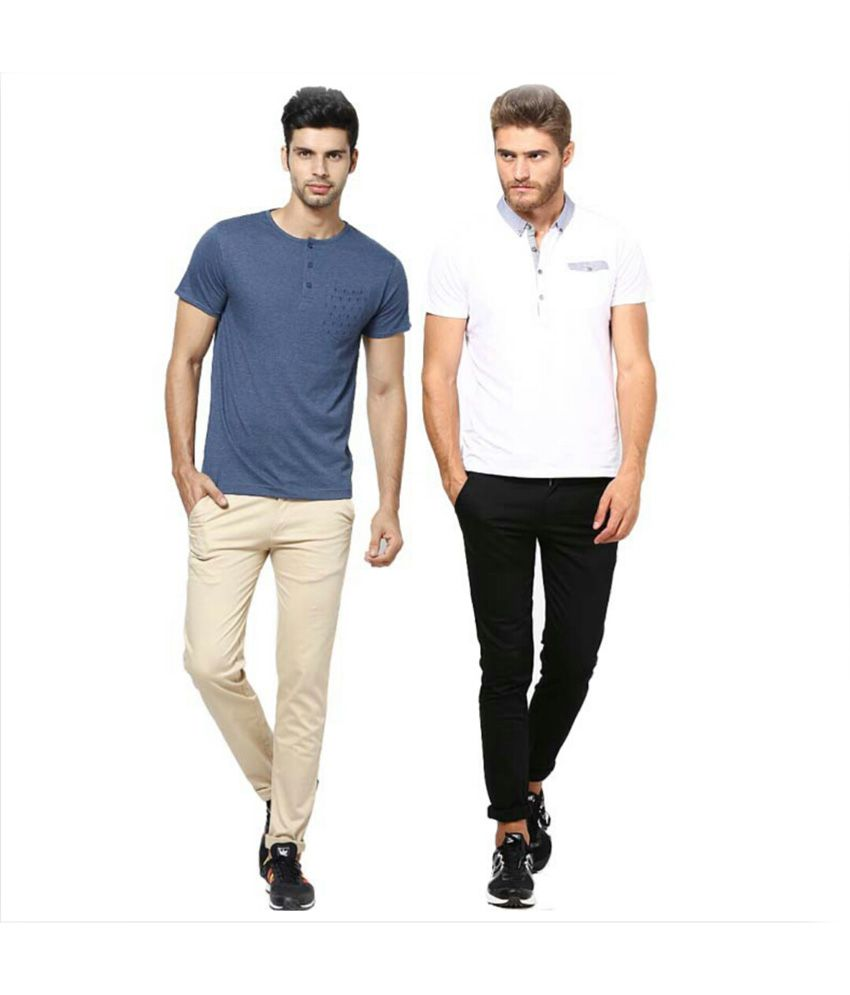 Inspire Clothing Inspiration Pack Of 2 Slim Casual Chinos (Beige & Black)