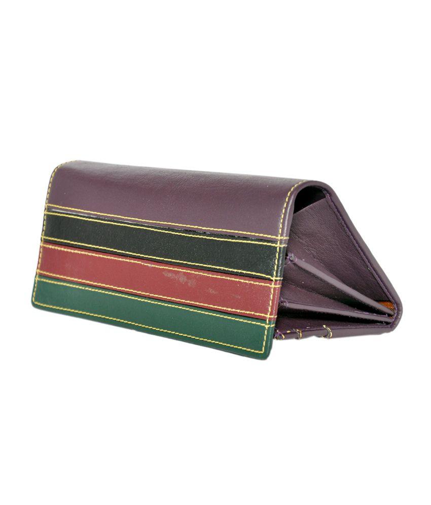 Lee Italian Multi Color Purple Wallet For Women