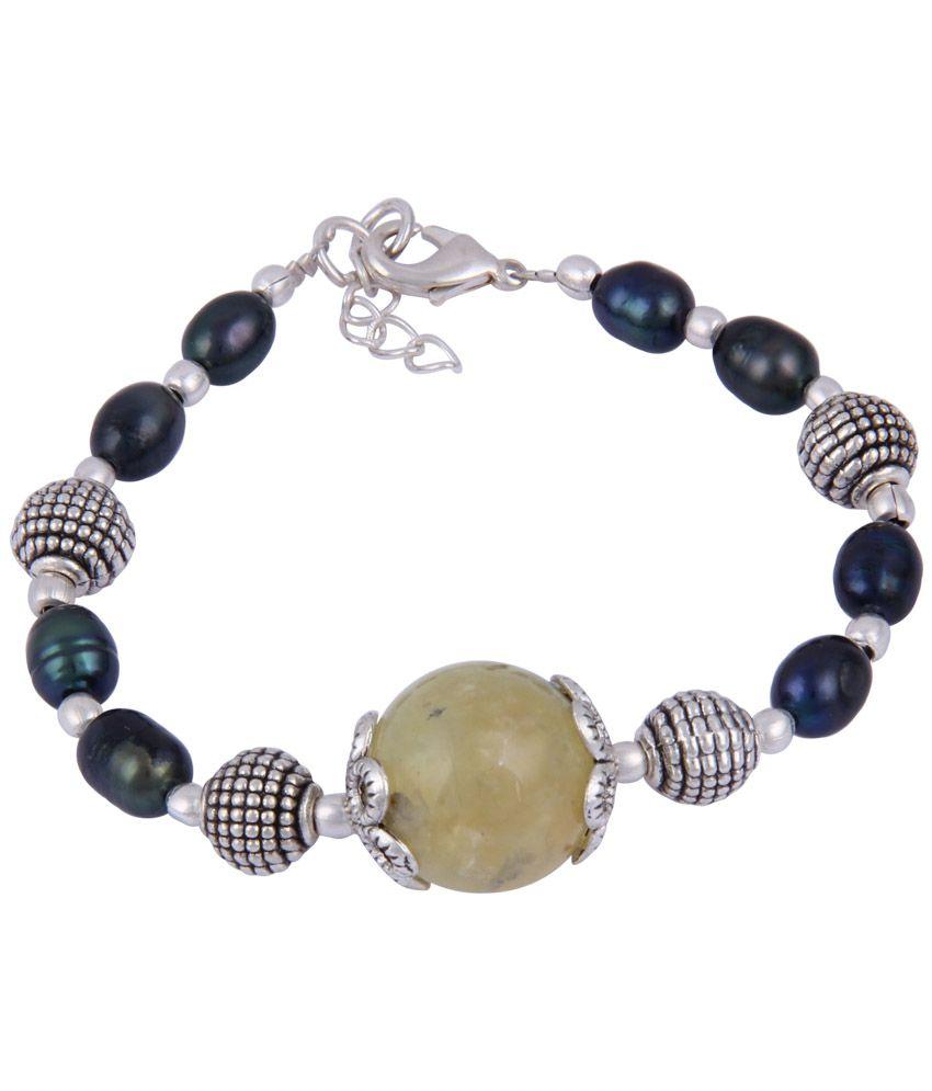 Pearlz Ocean Blue & Beige Beaded Bracelet