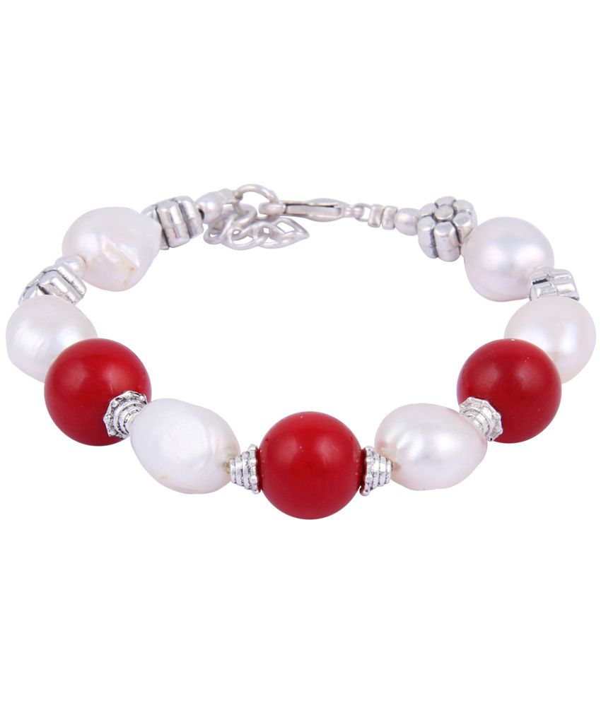Pearlz Ocean Red & White Beaded Bracelet