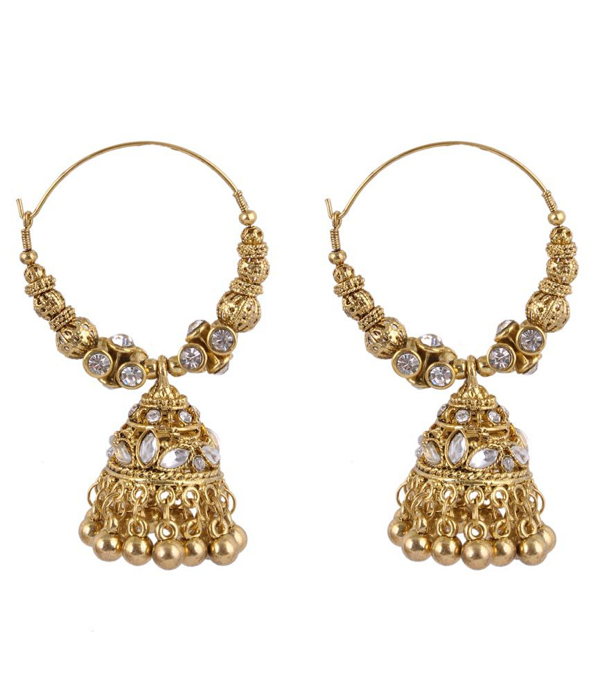 Sp Jewellery Style Diva Gold Jhumkis
