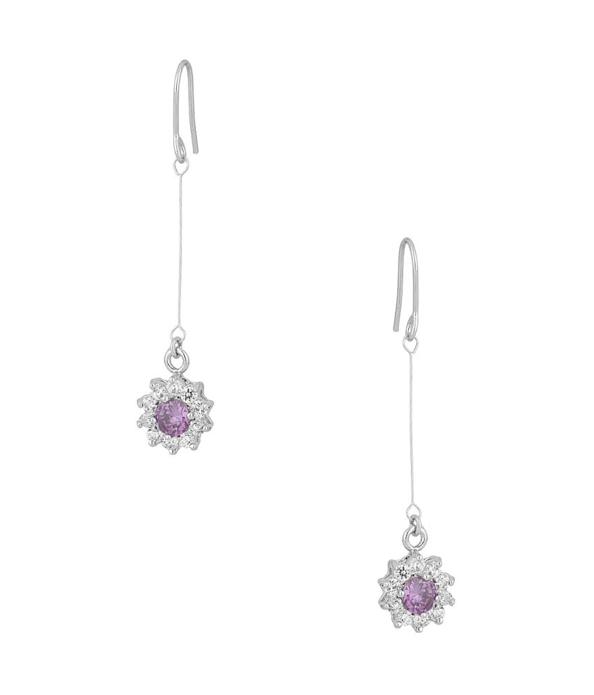 Voylla Adorable Pair Of Earrings With Purple And White Stones