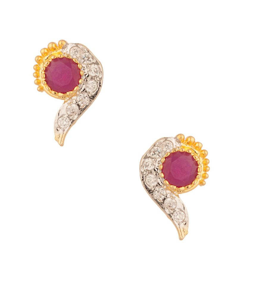 Voylla Classic Pair Of Stud Earrings Embellished With Cz And Pink Color Stones