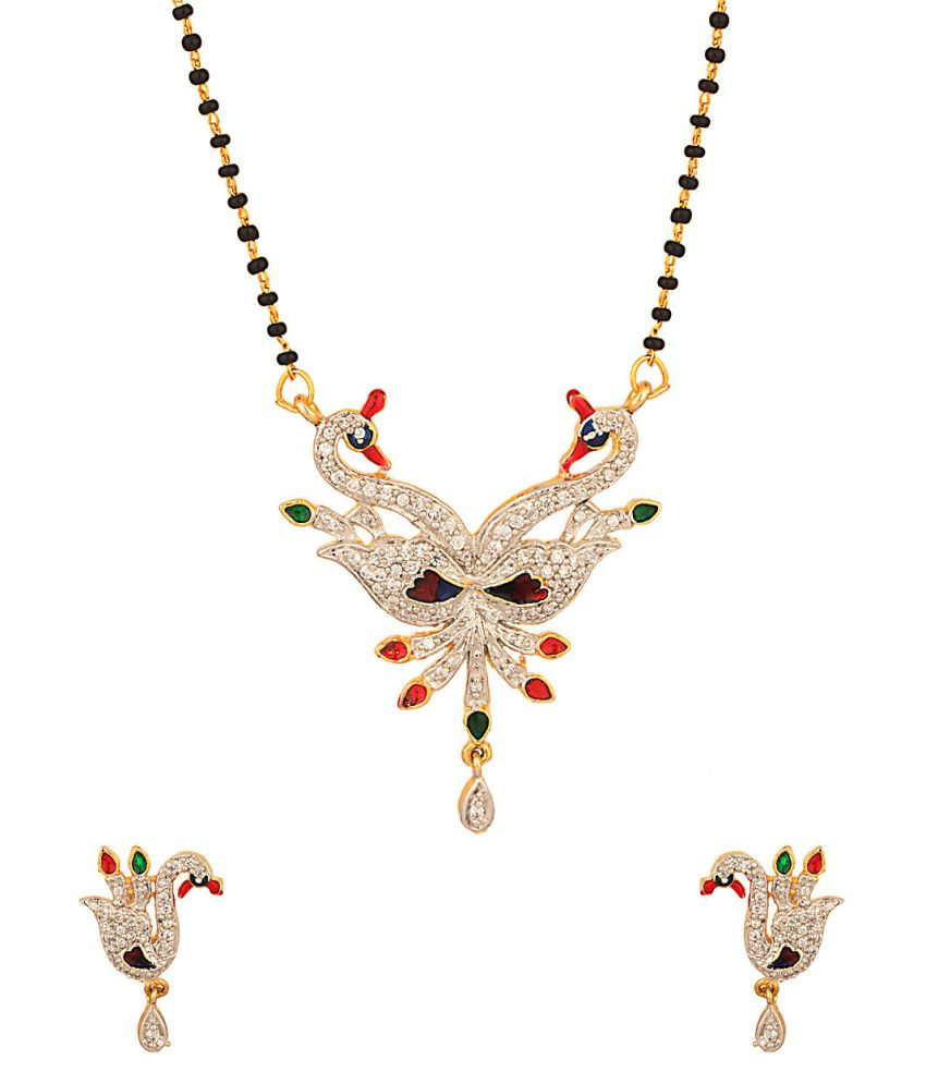 Voylla Endearing Single Chain Mangalsutra Set With Peacock Motif