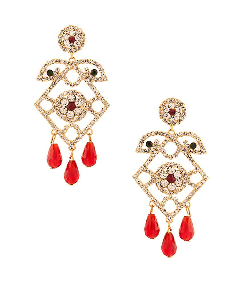 Voylla Exquisite Pair Of Earrings With Red Color Drops ...