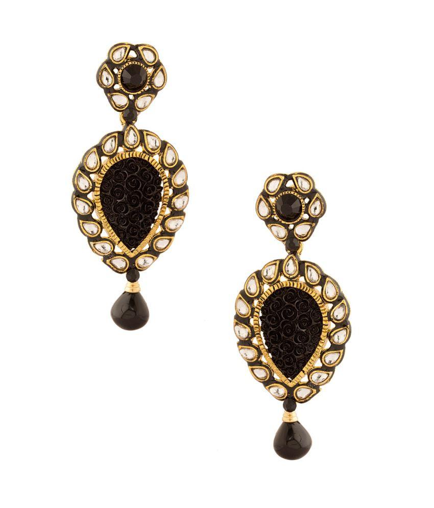 Voylla Glamorous Tear Drop Shape Dangler Earrings In Black Color