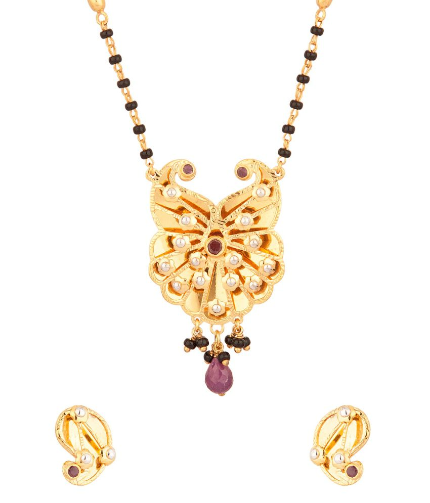 Voylla Mangalsutra Set With Black Bead And Rubies