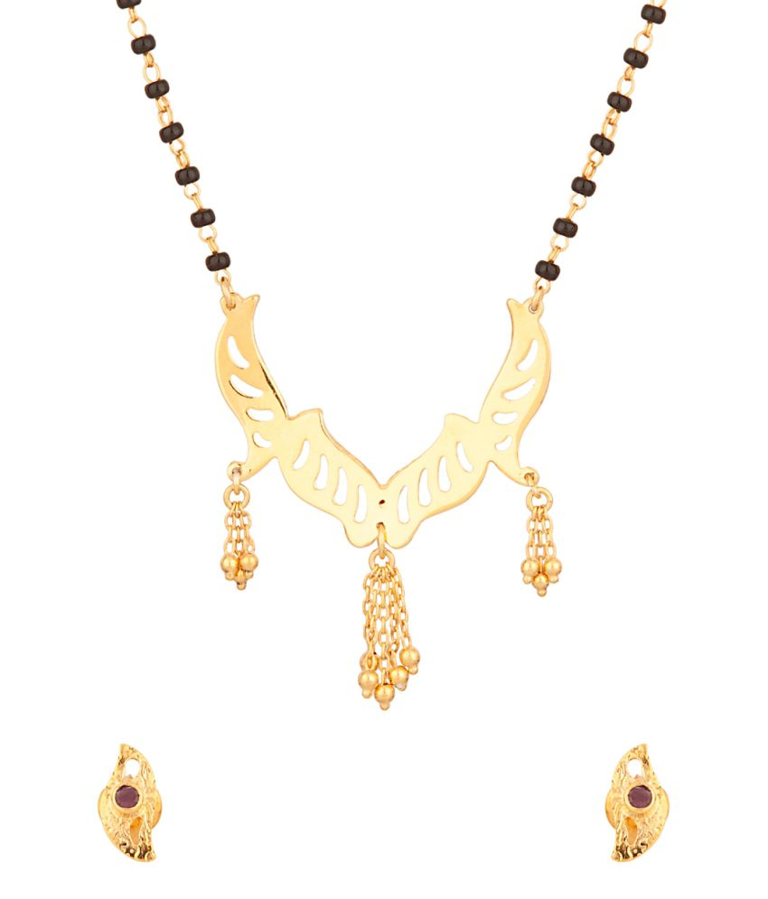Voylla Mangalsutra Set With Ruby,22k Gold And Sterling Silver