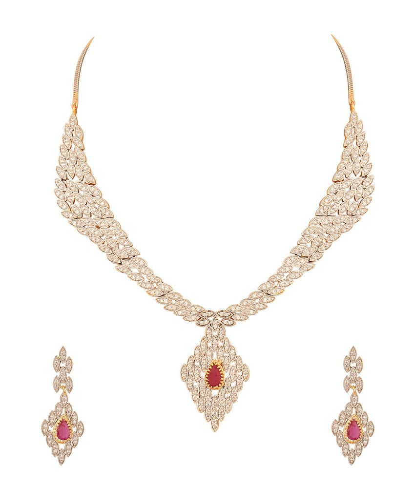 Voylla Mesmerizing Choker Necklace Set Embedded With Cz And Pink Color Stones