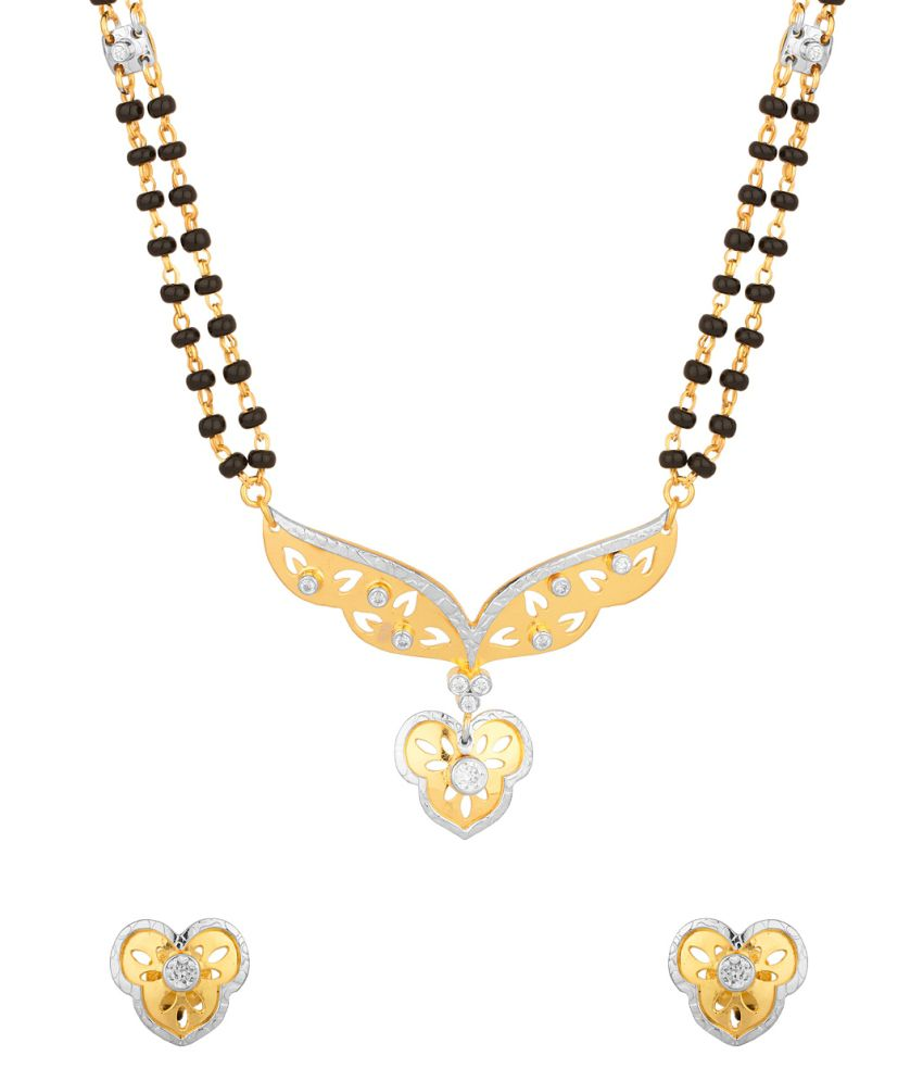 Voylla : Milaan Charming Double Chain Mangalsutra Embedded With Cz