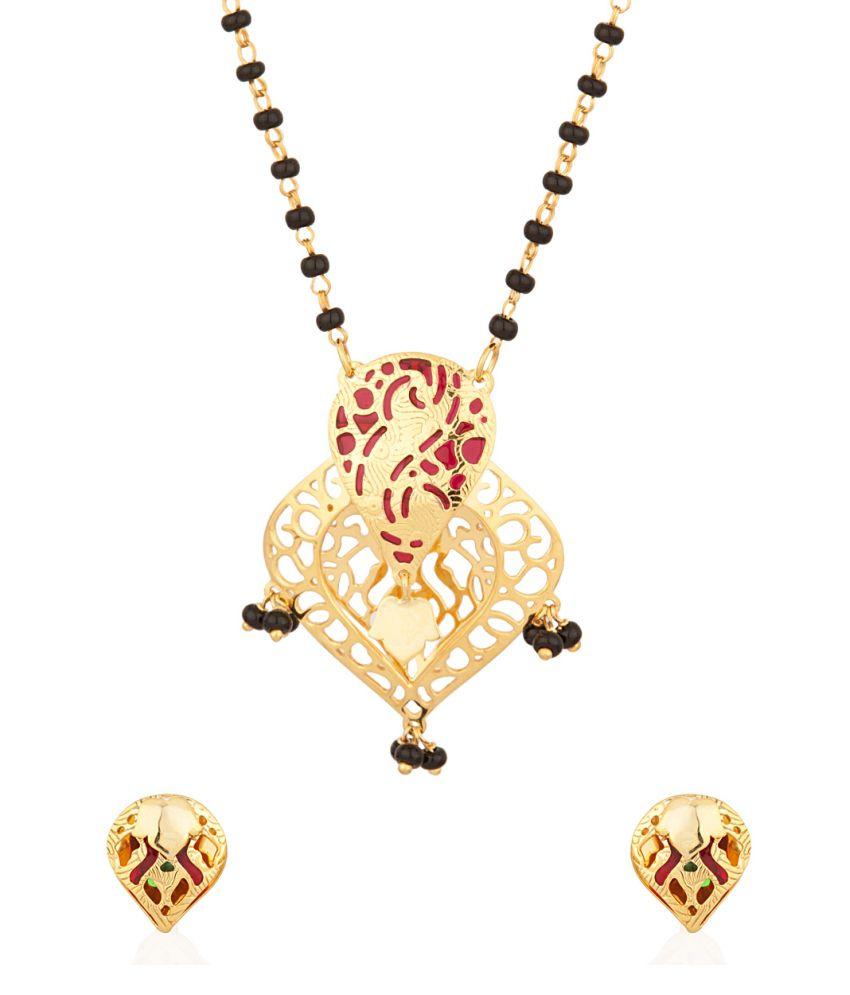 Voylla Single Chain Mangalsutra With Red Enamel Work