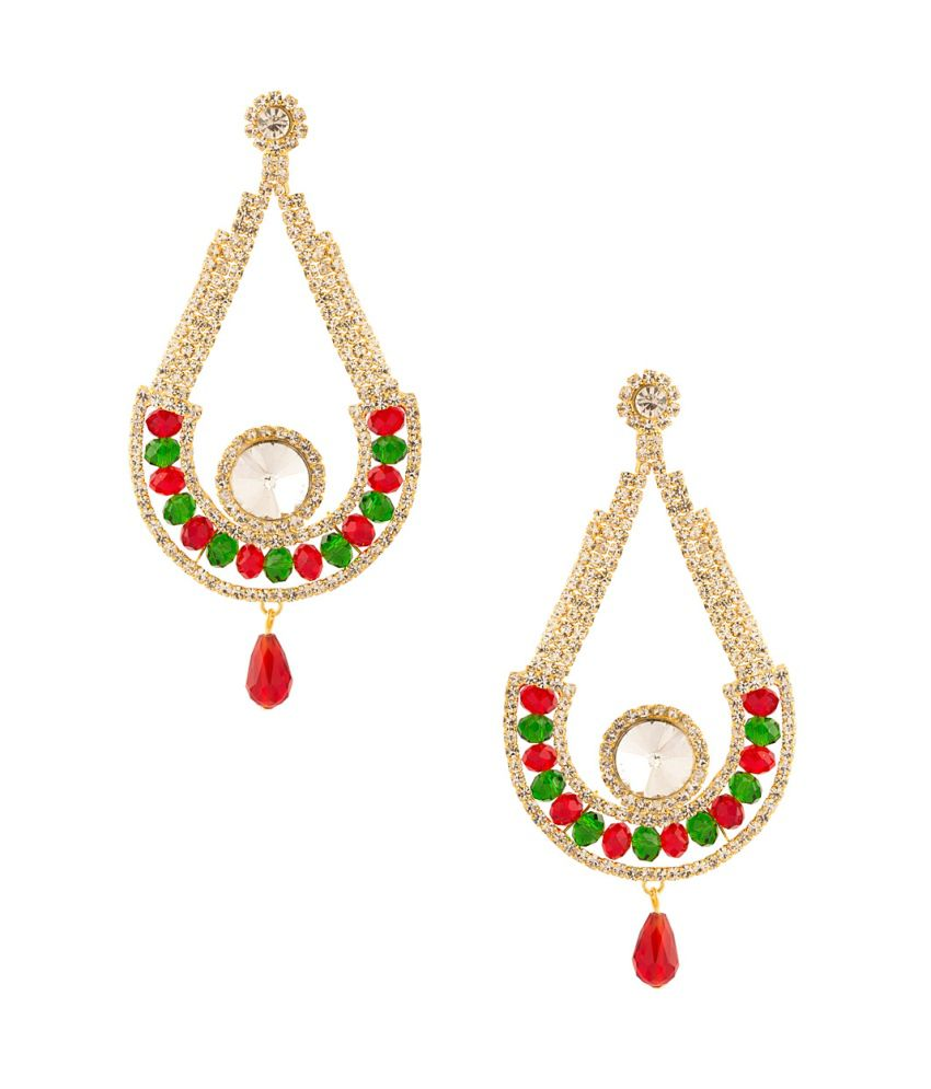 Voylla Sparkling Earrings Embellished With Colored Stones