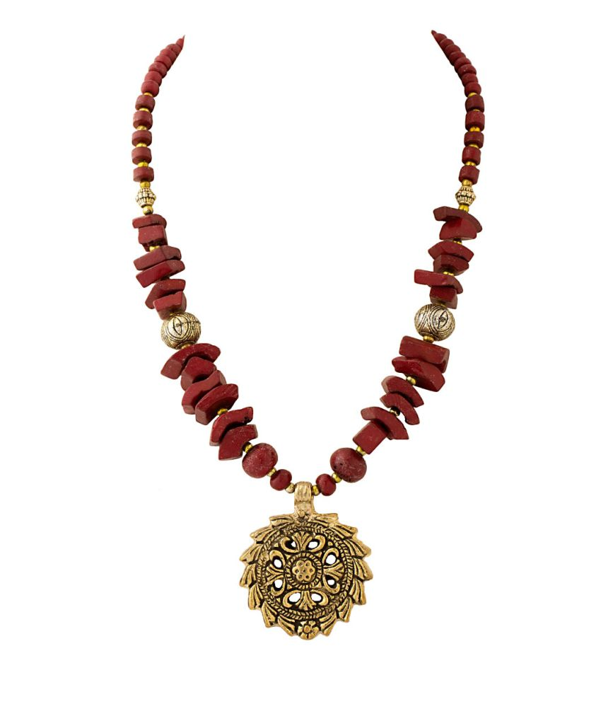Voylla Statement Necklace Adorned With Maroon Beads