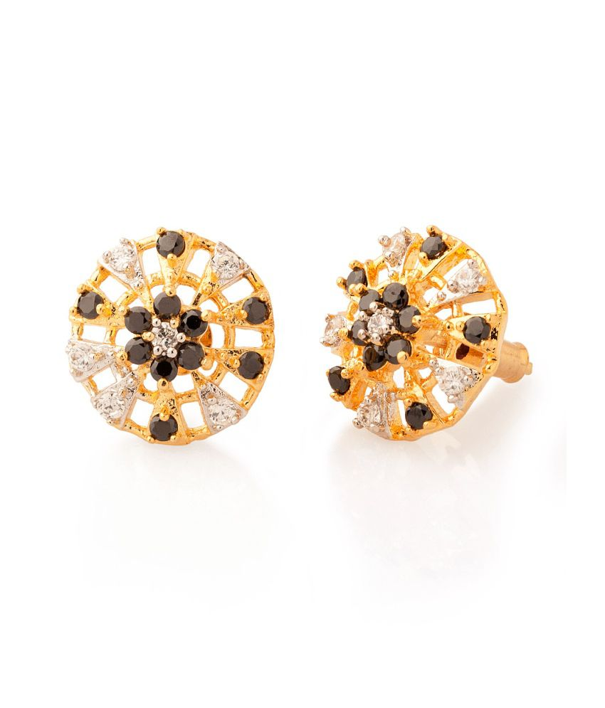 Voylla Stud Earrings With Round Shaped Motifs Laced With Black And White Stones