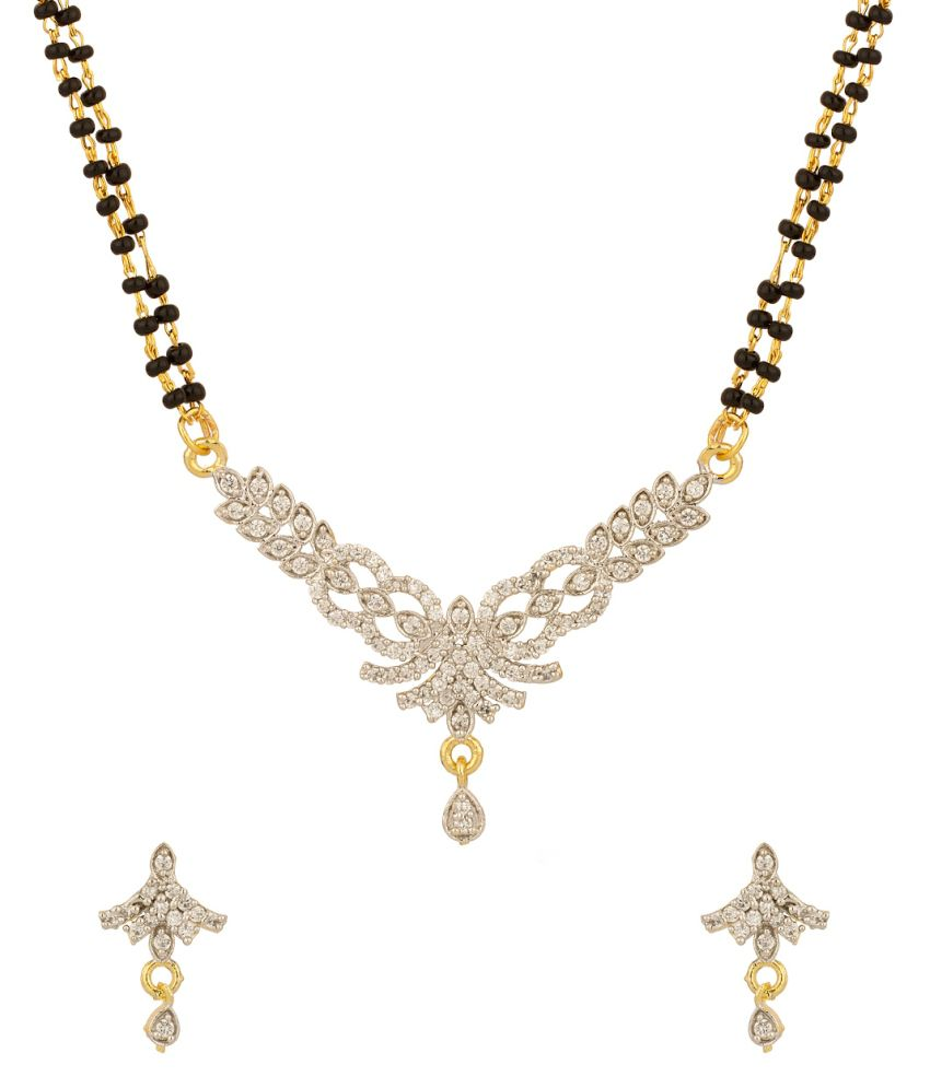 Voylla Yellow Gold Plated Mangalsutra Set With Cz Stones