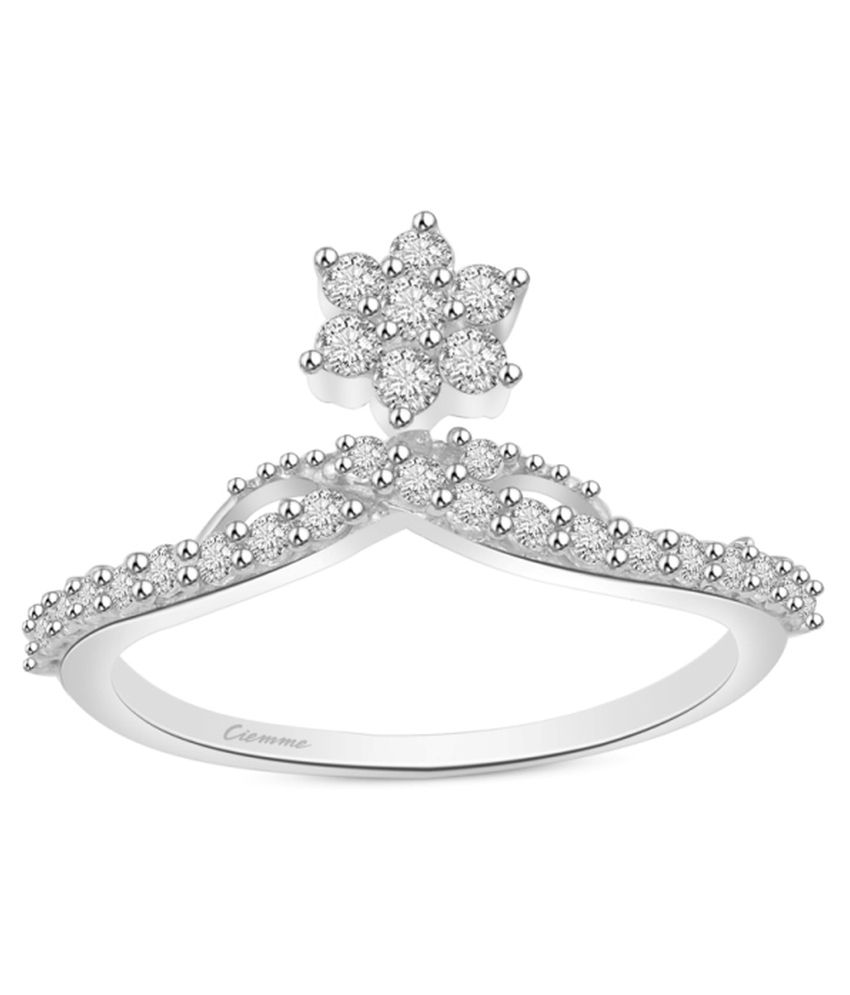 Ciemme 0.86 Ct Floral Prong Set Cz Ring 925 Sterling Silver