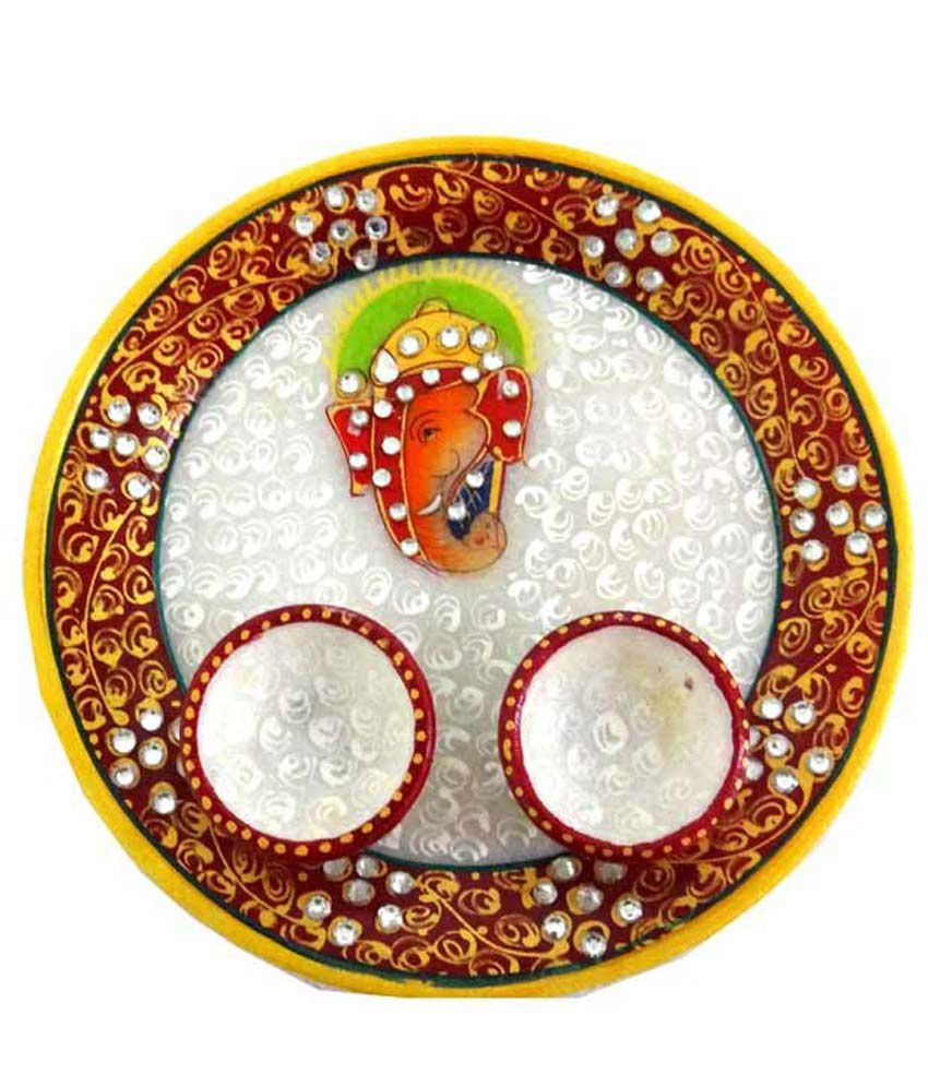 Unique Designer Marble Puja Thali With Stone Painting Work With Two Small Marble Bowl And Ganesha Painting