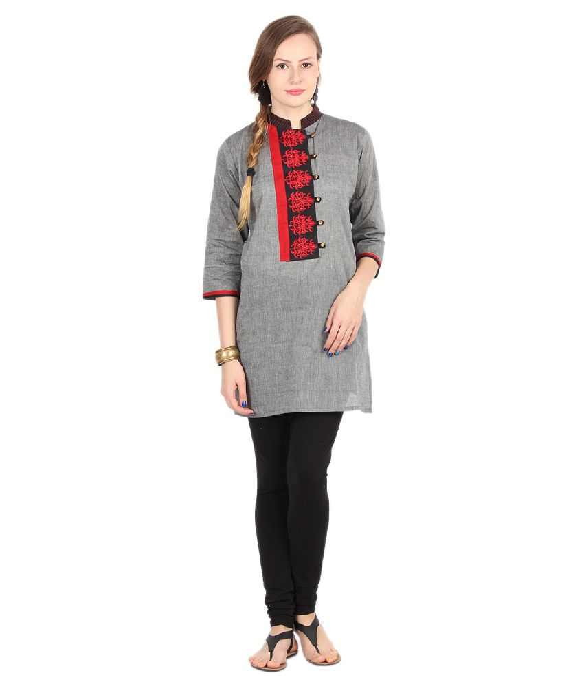 Frame Cotton Gray Kurtis