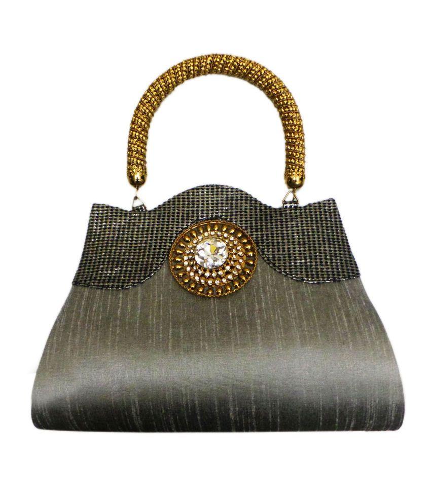 Handbag Raw Silk Antique Handle (silver)