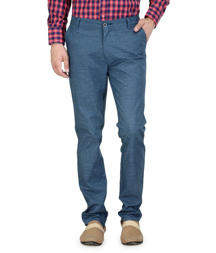 Kiosha Blue Cotton Blend Slim Trousers