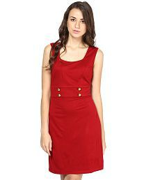 Besiva Maroon Viscose Dresses