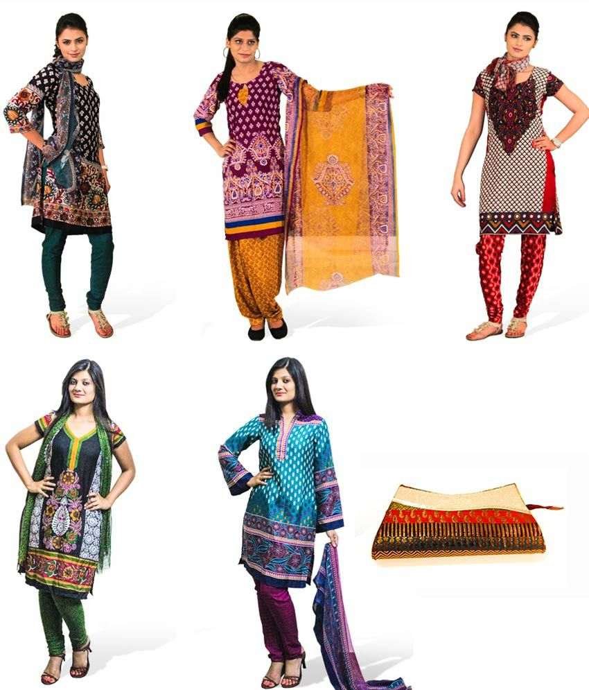 0ce86e5317 Bahaar Multi Color Dress Material - Set Of Five - Buy Bahaar Multi Color Dress  Material - Set Of Five Online at Best Prices in India on Snapdeal