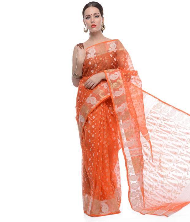 edbfe31a5ef Samayra Pink and Orange Base White and Golden Muslin Cotton Dhakai Jamdani  Saree - Buy Samayra Pink and Orange Base White and Golden Muslin Cotton  Dhakai ...