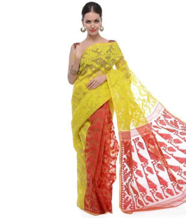 2dd637c6e5 Samayra Red and Yellow and Red Muslin Cotton Dhakai Jamdani Saree - Buy  Samayra Red and Yellow and Red Muslin Cotton Dhakai Jamdani Saree Online at  Low ...