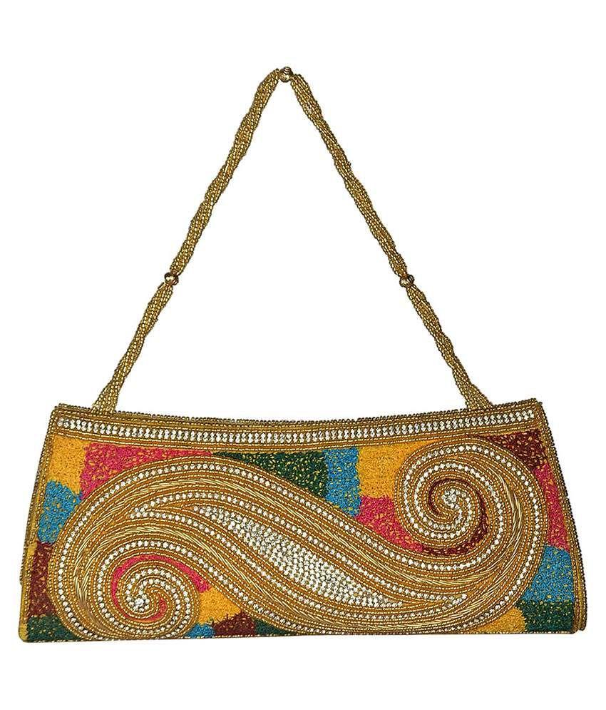 Shehnai Diamond Embellished Multicoloured Designer Clutch