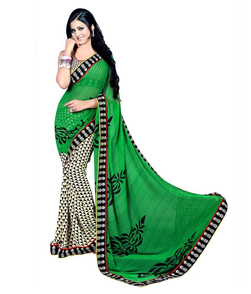 Designer Suvastram Exotic Green Printed Faux Georgette Saree