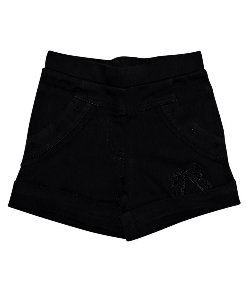 Ever Wear Satin Lycra Black Shorts For Kids