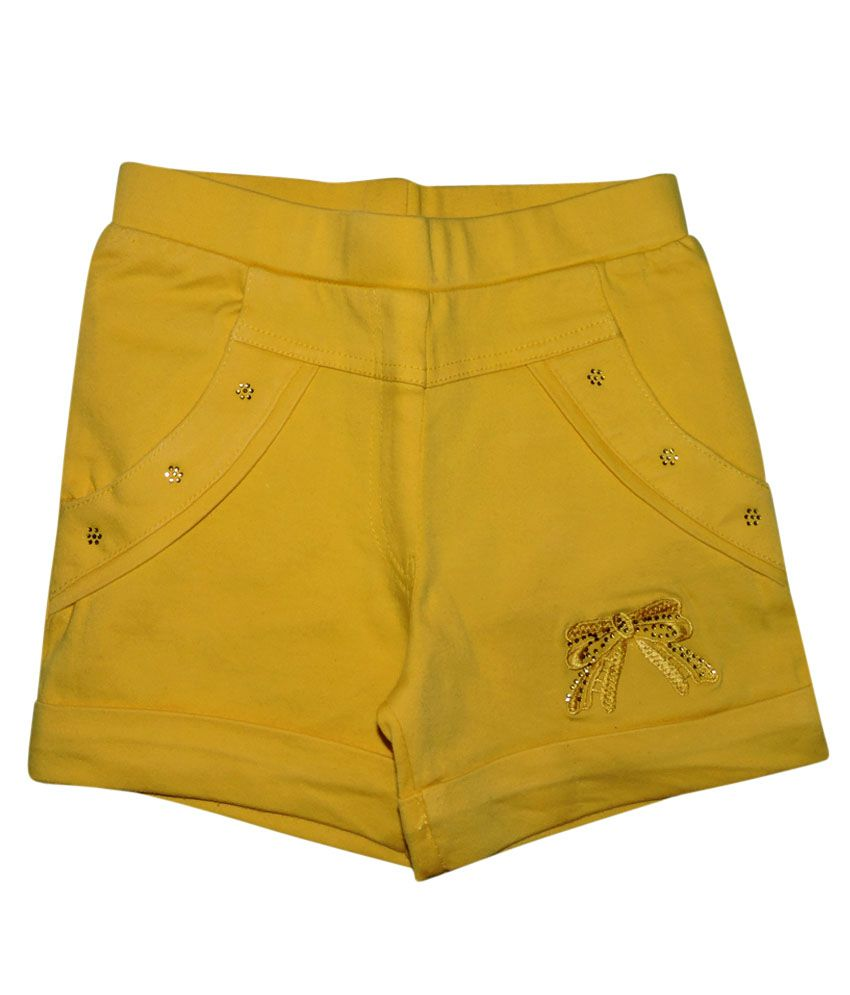 Ever Wear Satin Lycra Yellow Shorts For Kids