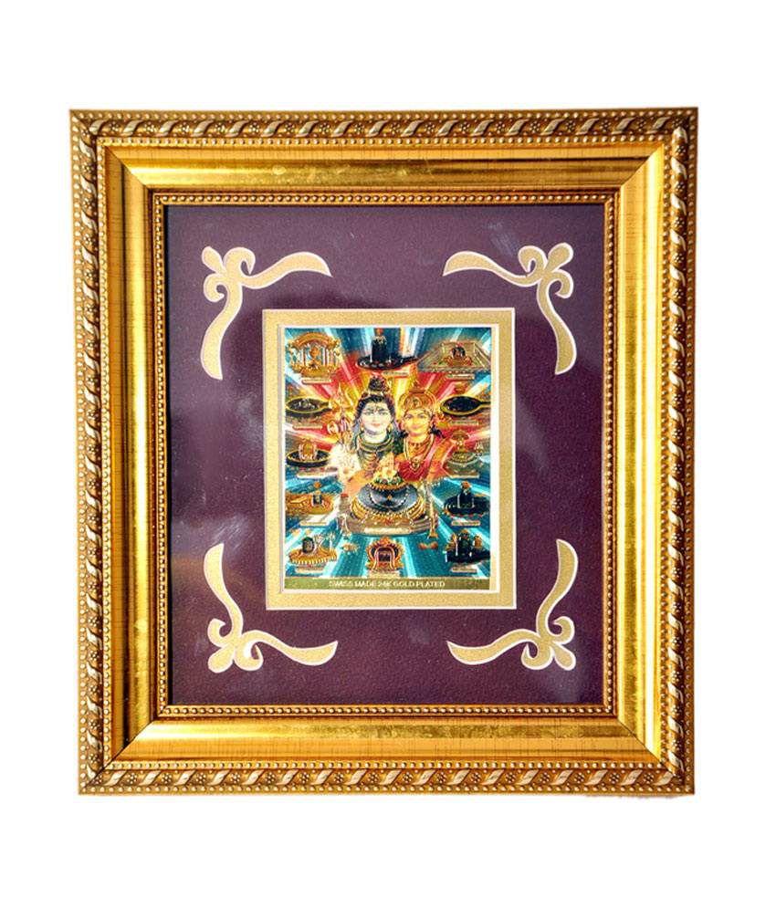 Artfelt Religious Frame-Shri Shankar Parvati With Bara Jotirling