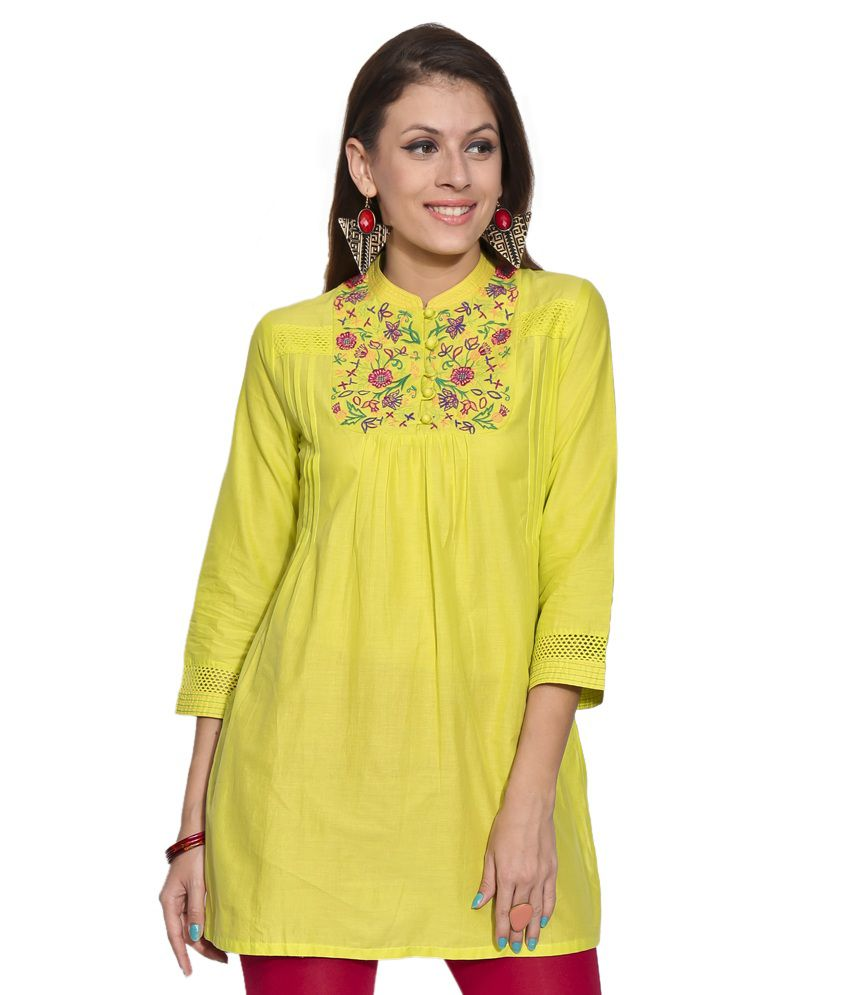 Biba Lime Green Solids Cotton Kurti