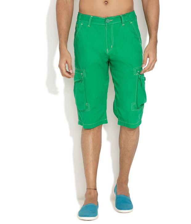 Teemper Green Solid Fun Cargo Shorts