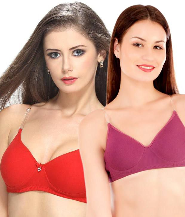 Tweens Multi Color Poly Cotton Padded Bra Pack of 2