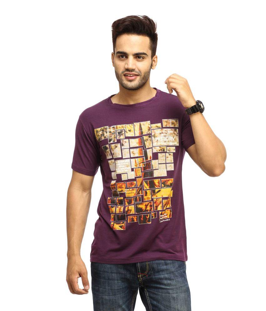 Gesture Purple Cotton T-shirt