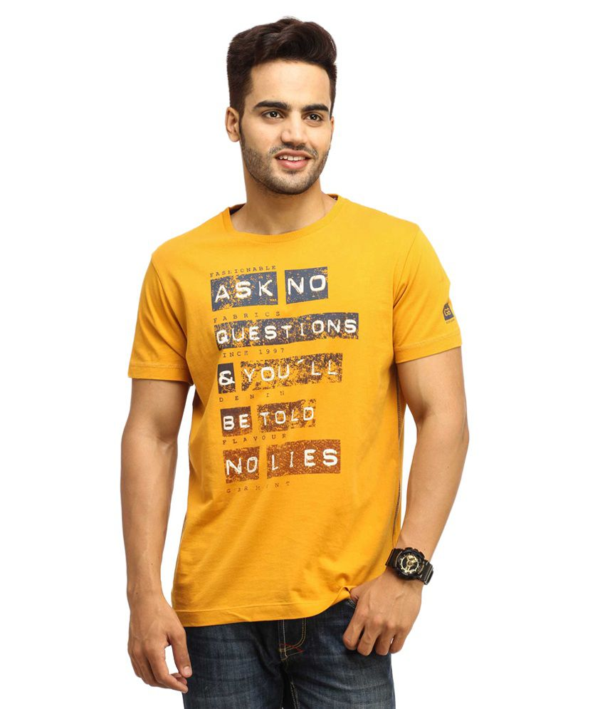 Gesture Yellow Cotton T-shirt
