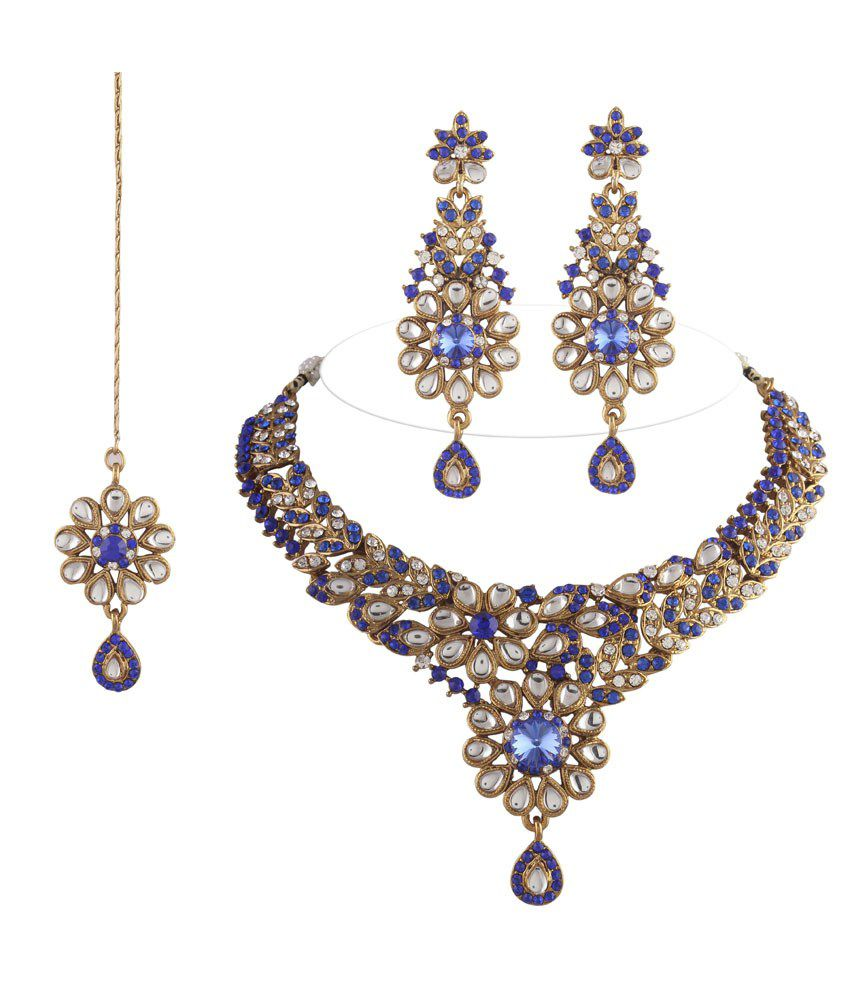I Jewels Blue Colour Statement Necklaces With Maang Tika Sets