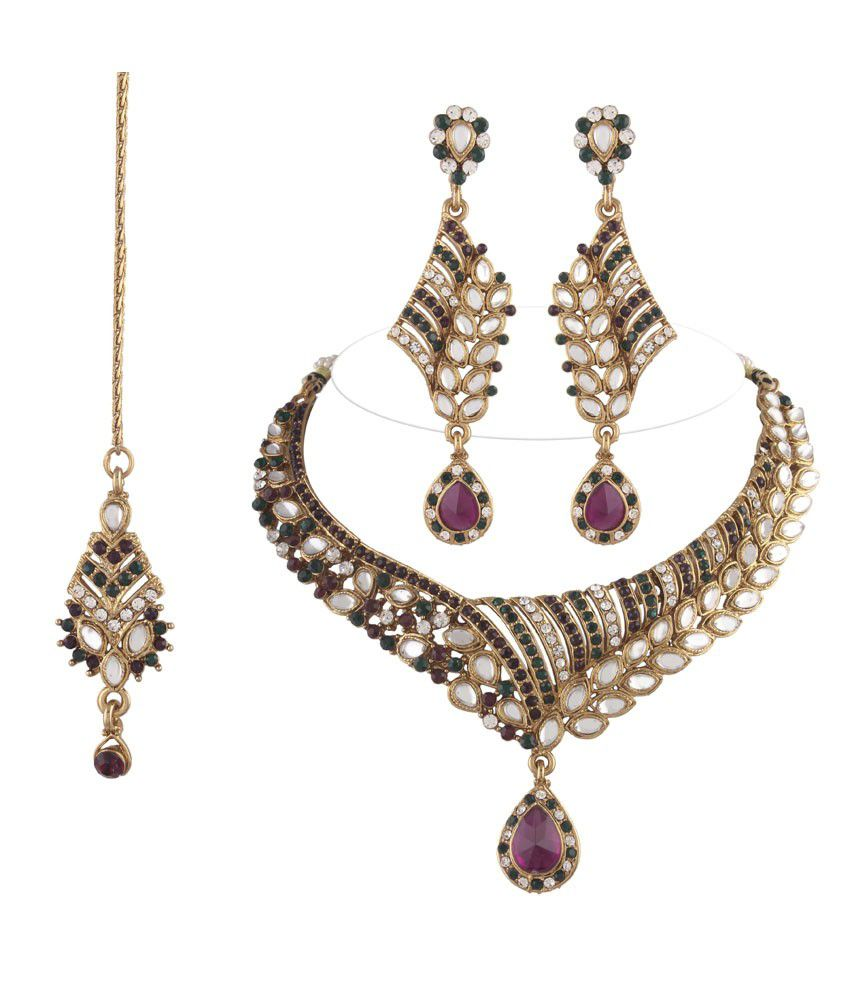 I Jewels Multi Colour Statement Necklaces With Maang Tika Sets